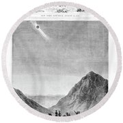 1800s 1870s The Great Solar Eclipse Round Beach Towel