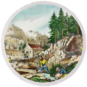 1800s Currier & Ives Color Engraving Round Beach Towel