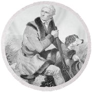 1810s Senior Daniel Boone Hunting Round Beach Towel
