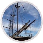 1812 Tall Ships Peacemaker Round Beach Towel by Lingfai Leung