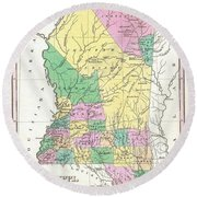 1827 Finley Map Of Mississippi Round Beach Towel