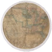 1839 Burr Wall Map Of The United States  Round Beach Towel