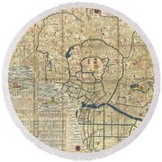 1849 Japanese Map Of Edo Or Tokyo Round Beach Towel by Paul Fearn