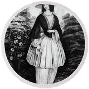 1850s Woman Wearing The Bloomer Costume Round Beach Towel