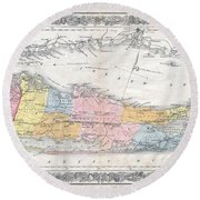 1857 Colton Travellers Map Of Long Island New York Round Beach Towel