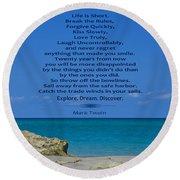 186- Mark Twain Round Beach Towel by Joseph Keane