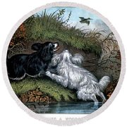 1860s Two Spaniel Dogs Flushing Round Beach Towel