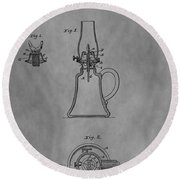 1861 Oil Lamp Patent Round Beach Towel