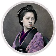 1870 Beautiful Japanese Woman Round Beach Towel by Historic Image