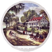 1870s 1800s A Home On The Mississippi - Round Beach Towel