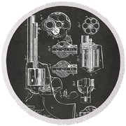1875 Colt Peacemaker Revolver Patent Artwork - Gray Round Beach Towel by Nikki Marie Smith