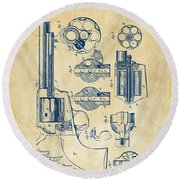 Round Beach Towel featuring the digital art 1875 Colt Peacemaker Revolver Patent Vintage by Nikki Marie Smith