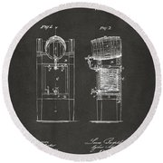 Round Beach Towel featuring the digital art 1876 Beer Keg Cooler Patent Artwork - Gray by Nikki Marie Smith