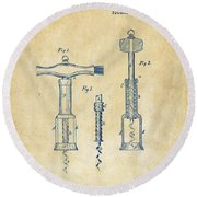 1876 Wine Corkscrews Patent Artwork - Vintage Round Beach Towel