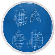1878 Baseball Catchers Mask Patent - Blueprint Round Beach Towel