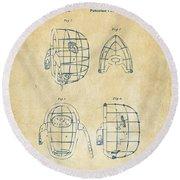 1878 Baseball Catchers Mask Patent - Vintage Round Beach Towel