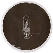 Round Beach Towel featuring the drawing 1880 Edison Electric Lights Patent Artwork Espresso by Nikki Marie Smith