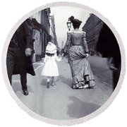 1880 Out For A Walk In Boston Round Beach Towel by Historic Image