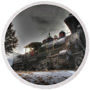 Round Beach Towel featuring the photograph 1880 Train by Bill Gabbert