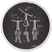 Round Beach Towel featuring the digital art 1883 Wine Corckscrew Patent Artwork - Gray by Nikki Marie Smith