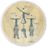 1883 Wine Corckscrew Patent Artwork - Vintage Round Beach Towel
