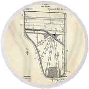 1885 Steinway Piano Frame Patent Art Round Beach Towel