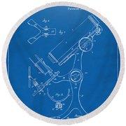1886 Microscope Patent Artwork - Blueprint Round Beach Towel