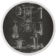 Round Beach Towel featuring the digital art 1890 Bottling Machine Patent Artwork Gray by Nikki Marie Smith