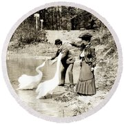 1890 Feeding Swans In Paris Round Beach Towel by Historic Image