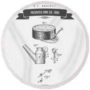 1890 Miners Lamp Holder Patent Drawing - Retro Gray Round Beach Towel