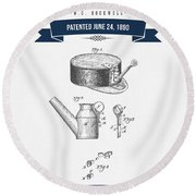 1890 Miners Lamp Holder Patent Drawing - Retro Navy Blue Round Beach Towel