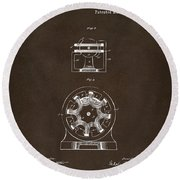 Round Beach Towel featuring the drawing 1890 Tesla Motor Patent Espresso by Nikki Marie Smith