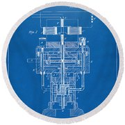 Round Beach Towel featuring the drawing 1894 Tesla Electric Generator Patent Blueprint by Nikki Marie Smith