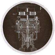 Round Beach Towel featuring the drawing 1894 Tesla Electric Generator Patent Espresso by Nikki Marie Smith