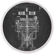 Round Beach Towel featuring the drawing 1894 Tesla Electric Generator Patent Gray by Nikki Marie Smith