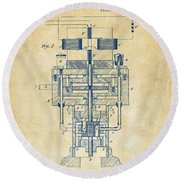 Round Beach Towel featuring the drawing 1894 Tesla Electric Generator Patent Vintage by Nikki Marie Smith