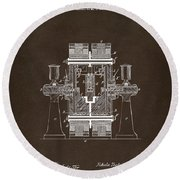 Round Beach Towel featuring the drawing 1898 Tesla Electric Circuit Patent Artwork Espresso by Nikki Marie Smith