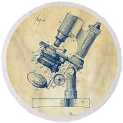 Round Beach Towel featuring the digital art 1899 Microscope Patent Vintage by Nikki Marie Smith