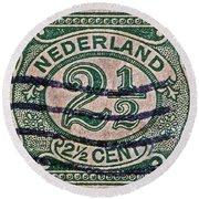 1899 Netherlands Stamp Round Beach Towel