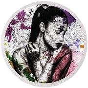 Round Beach Towel featuring the digital art Demi Lovato by Svelby Art