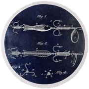 1900 Fishing Hook Patent Drawing Blue Round Beach Towel