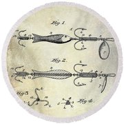 1900 Fishing Hook Patent Drawing Round Beach Towel