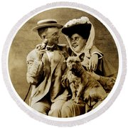 1900 Happy Young Couple Round Beach Towel by Historic Image