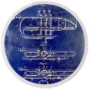 1901 Wind Musical Instrument Patent Drawing Blue Round Beach Towel