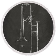 1902 Slide Trombone Patent Artwork - Gray Round Beach Towel