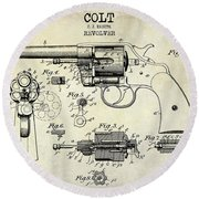 1903 Colt Revolver Patent Drawing Round Beach Towel