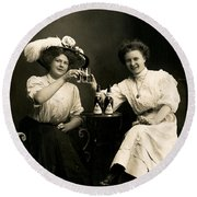 1905 Beer Drinking Girlfriends Round Beach Towel by Historic Image