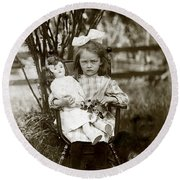 1905 Portrait Of A Cranky Girl Round Beach Towel by Historic Image