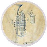1906 Brass Wind Instrument Patent Artwork Vintage Round Beach Towel