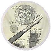 1906 Fishing Reel Patent Drawing Round Beach Towel by Jon Neidert